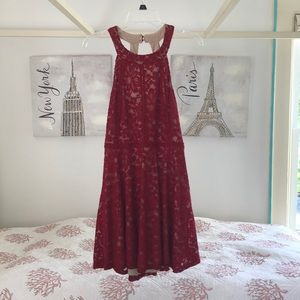 Macy's cranberry-red halter dress